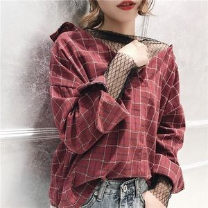 Tops - Red Plaid Top with Mesh